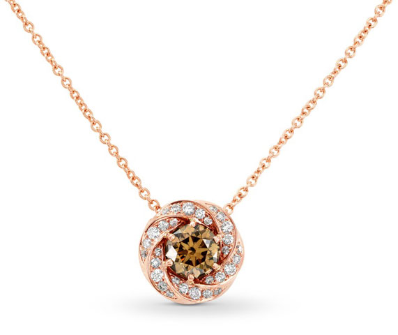 Leibish & Co. - Black Friday Sale on Round Fancy Yellow-Brown Diamond Pendant