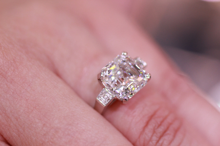 5.03 carat Royal Asscher cut diamond F VVS2