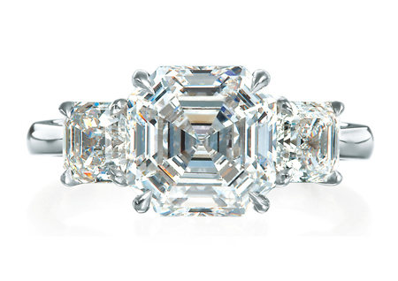 Royal Asscher Deco Trinity Ring