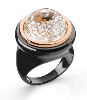Ceramic and 18k rose gold diamond ring Shining Stars by Royal Asscher