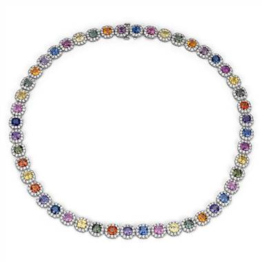 Fancy sapphire and diamond necklace set in 18K white gold at Blue Nile