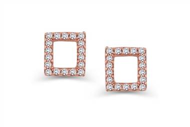 Mini pave square stud earrings in rose gold at Ritani
