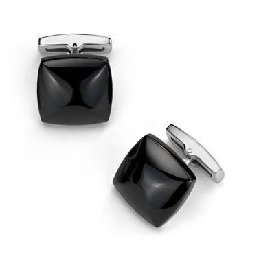 Black cufflinks in stainless steel at Blue Nile
