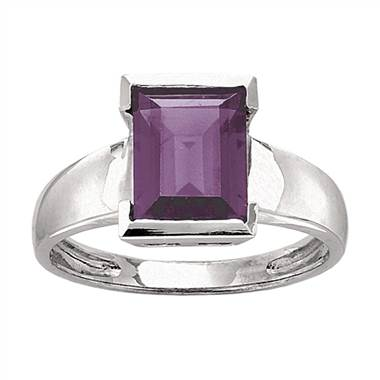 Emerald cut amethyst cocktail ring in 14K white gold at I.D. Jewelry
