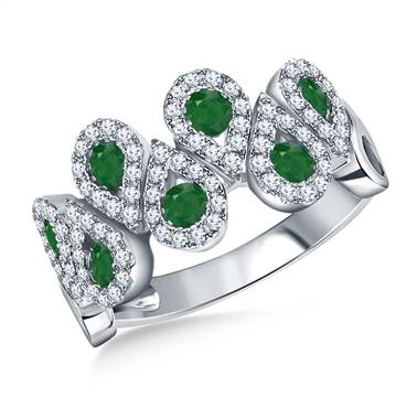 Emerald and diamond halo multi gemstone pear ring set in white gold at B2C Jewels