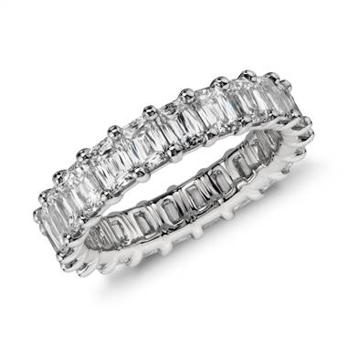 Brilliant emerald cut diamond eternity ring set in platinum at Blue Nile