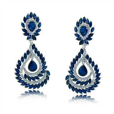 Sapphire and Diamond Chandelier Earrings set in 18KT White Gold 23.30ct