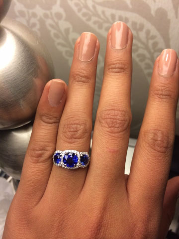 sapphire and diamond 3-stone ring shared by kama_s
