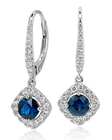 Blue Nile:  Cyber Monday Deal 50 Percent Off on Sapphire and Diamond Cushion Halo Drop Earrings