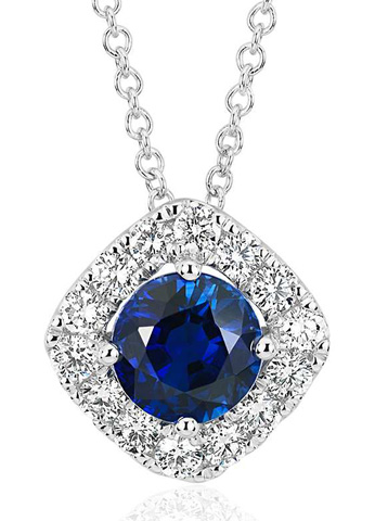 Blue Nile:  Cyber Monday Deal 50 Percent Off on Sapphire and Diamond Cushion Halo Pendant