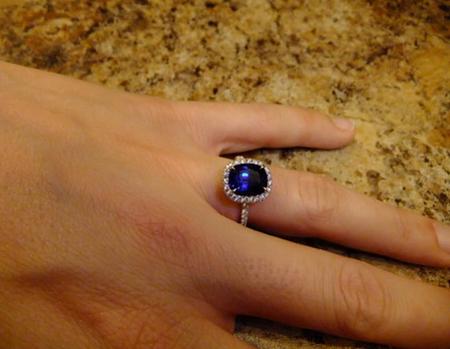 Sapphire Halo Diamond Engagement Ring