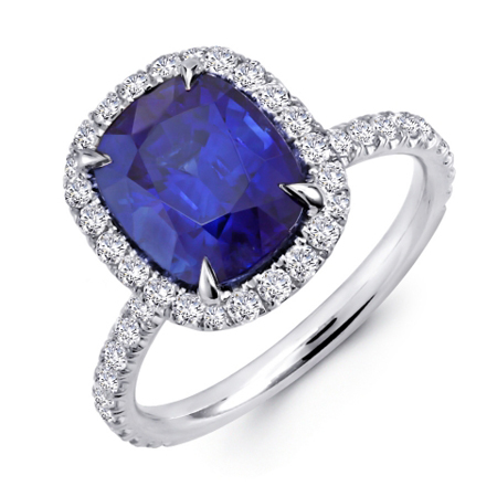 Halo Ring Antique Sapphire And Diamond Halo Ring