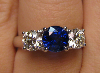 September birthstone sapphire three stone ring