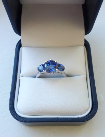 Sapphire Three Stone Engagement Ring