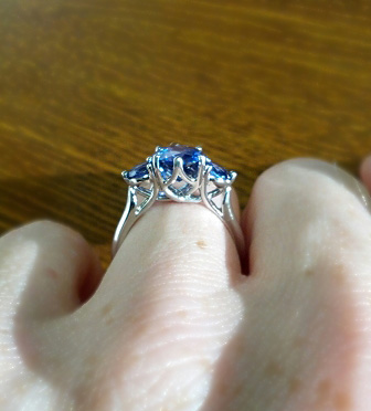Sapphire Three Stone Engagement Ring Profile