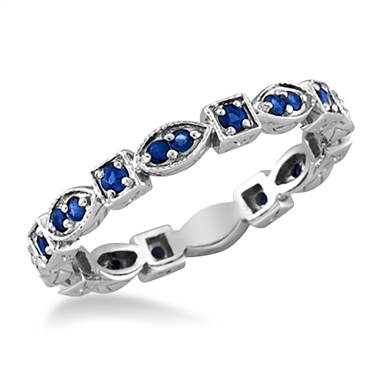 Blue sapphire eternity band set in white gold at B2C Jewels