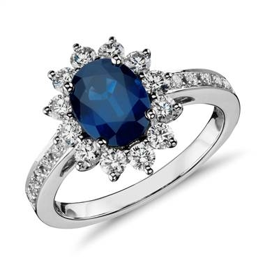 Oval sapphire and diamond halo ring set in 18K white gold at Blue Nile