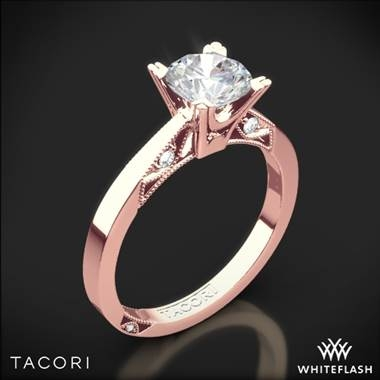 Simply Tacori flat edge solitaire engagement ring set in 18K rose gold at Whiteflash