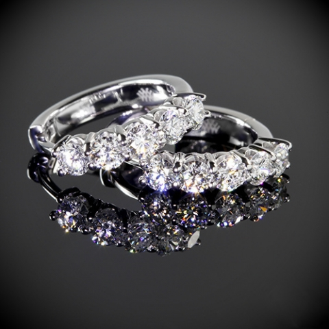1-carat diamond huggie earrings from Whiteflash