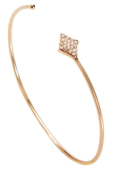Shay Jewelry pavé diamond open bangle in 14k rose gold