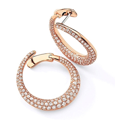 Simon G Rose Gold Hoop Earring with Pave Diamonds at Since1910
