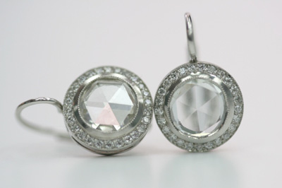 Single Stone rose cut diamond drop earrings
