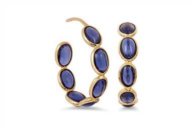 Iolite hoop earrings in 18K gold at Ritani