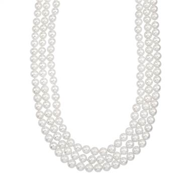 Triple strand large freshwater pearl choker necklace with 14K gold clasp at B2C Jewels