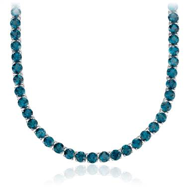 Round London blue topaz necklace in sterling silver at Blue Nile