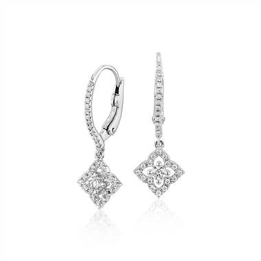 Petite diamond floral drop earrings set in 14K white gold at Blue Nile