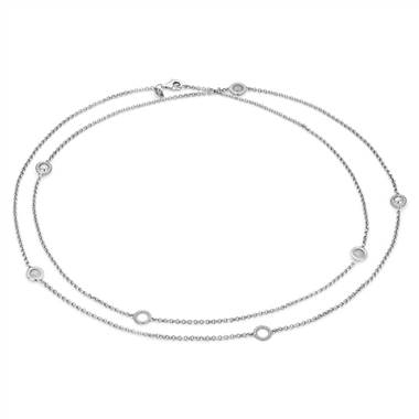 Frances Gadbois long disc station link necklace set in sterling silver at Blue Nile