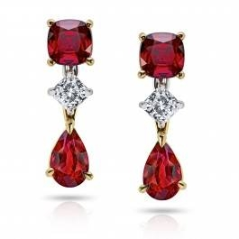 Pear and cushion cut diamond and ruby earrings set in 18K white gold at I.D. Jewelry