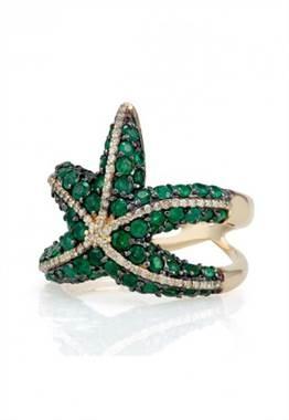 Brasilica emerald and diamond starfish ring set in 14K yellow gold at EFFY