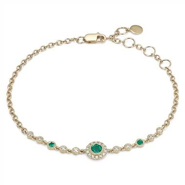 Emerald and diamond vintage inspired bracelet set in 14K yellow gold at Blue Nile