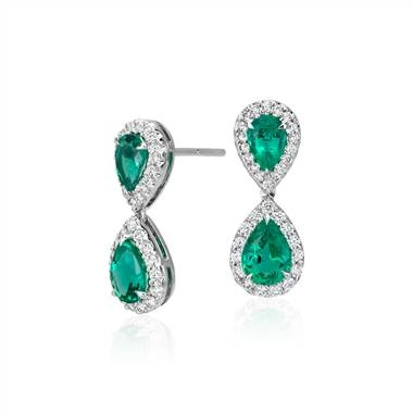 Emerald and diamond classic drop earrings set in 18K white gold at Blue Nile