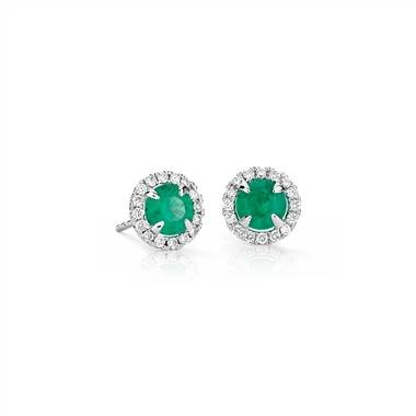 Emerald and micropave diamond stud earrings set in 18K white gold at Blue Nile