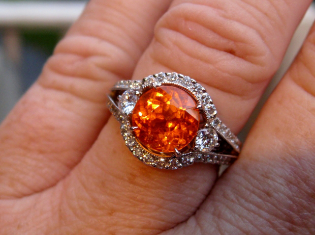 Spessartite Garnet and Diamond Ring, Hand Shot
