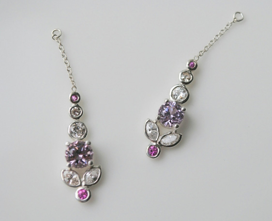 spinel, diamond, and sapphire earring enhancers