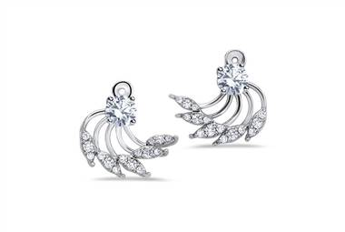 Feathered diamond earring jackets in 14kt white gold at Ritani