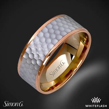 Mens hammered wedding ring in white gold with rose gold accents at Whiteflash