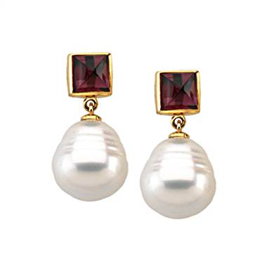 South Sea pearl and rhodolite garnet earrings at B2C Jewels