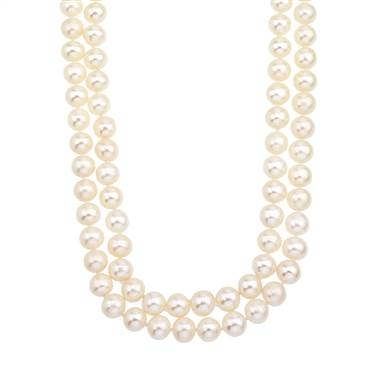 Double strand white freshwater pearl necklace with 14K yellow gold clasp at B2C Jewels