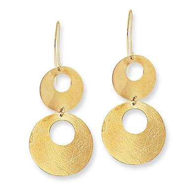 Dangling earrings set in 14K yellow gold at B2C Jewels