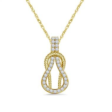 Diamond love knot pendant necklace set in 14K yellow gold at B2C Jewels