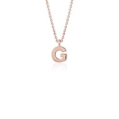 """G"" mini initial pendant set in 14K rose gold at Blue Nile"