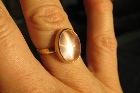 Star Rose Quartz Ring in 22k gold