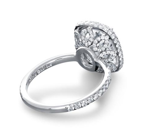 Floral micropavé halo diamond engagement ring by Steven Kirsch