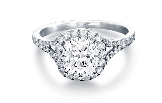 Split-shank halo diamond engagement ring by Steven Kirsch