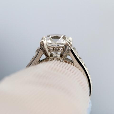 SunshineRn's French cut 3.04ct diamond setting side view