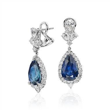 Pear shaped sapphire and diamond drop earrings in white gold at Blue Nile